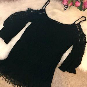 Black boho crochet cold shoulder tunic dress